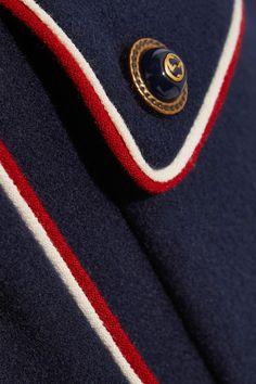 Gucci - Embellished Metallic-trimmed Wool-felt Coat - Navy - IT46