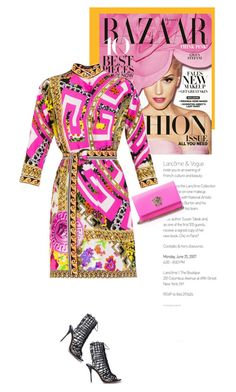 """""""Vibrant Prints"""" by firstboutique ❤ liked on Polyvore featuring COVERGIRL, Sophia Webster, Versace, yellow and Pink"""