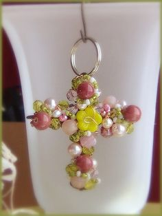 """3"""" Beaded Wire Cross _ Spring Bouquet"""