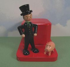icollect247.com Online Vintage Antiques and Collectables - Wooden Still Bank w Key German Democratic Republic 1960s