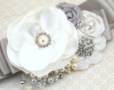Sash Wedding Bridal Blush Tan Beige Champagne Ivory by SolBijou