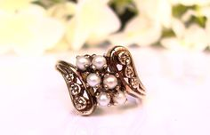 Antique Pearl Engagement Ring Orange Blossom Motif Pearl Ring 10K Gold Bypass Wedding Ring Bridal Jewelry June Birthstone Ring Size 6!