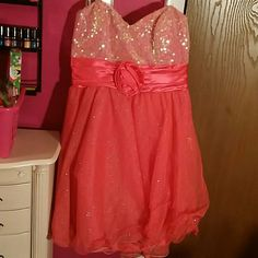 Deb dress It was worn twice for homecoming dances. The tag says size 13, fits true to size. Deb Dresses Strapless