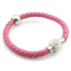 NIENDO Fashion Women  Pink Genuine Leather Bracelets & Bangles Stainless Steel Crystal Ball Magnet Buckle Jewelry LL067