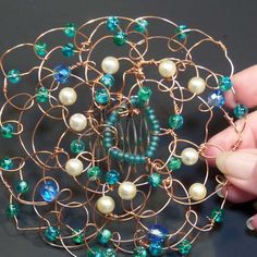 Wire Kippah  Copper Wire with Teal Glass Beads by lindab142 #ButterflysPin