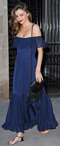 Miranda Kerr Navy Bare Shoulders Maxi Dress                                                                             Source