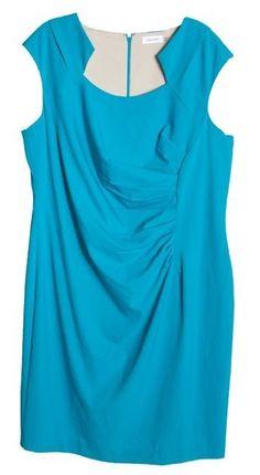 e75106e2b1f Calvin Klein 0990 Womens Blue Gathered Cocktail Dress Plus 18w BHFO