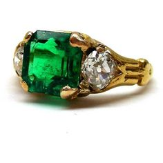 Antique emerald and diamond ring, c.1860, (€11.375) ❤ liked on Polyvore featuring jewelry, rings, antique jewelry, emerald rings, antique rings, diamond jewelry and square cut emerald ring