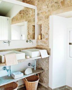 Spanish stone villa stone bathroom