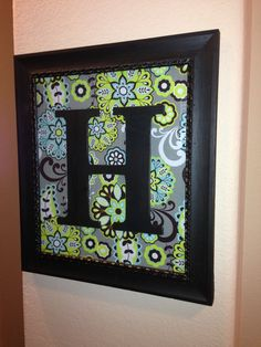 Monogram Initial Personalized Wooden Letter Wall Decoration Wall Art - $7.00 project- perfect for my new picture wall I'm working on- (frame was 90% off at Hobby Lobby, fabric on sale, wooden letter initial purchased with 40% off coupon)