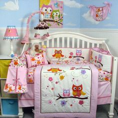 Cute girly owl crib set is such a great price, too!