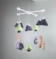 baby mobile woodland baby mobile deer baby mobile by MaddiesHats