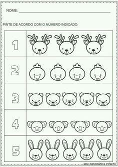 Mathematics for Children: Number and Quantity Painting Animals Activity - Kindergarten Math Worksheets, Preschool Activities, Animal Activities, Learning Activities, School Folders, Math For Kids, Math Lessons, Pre School, Cursive