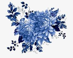 Hand-painted flowers PNG and Clipart Blue Peonies, Blue Flowers, Blue Flower Png, Blue Flower Wallpaper, Blue Pottery, Botanical Flowers, Arte Floral, Chinese Painting, Botanical Illustration