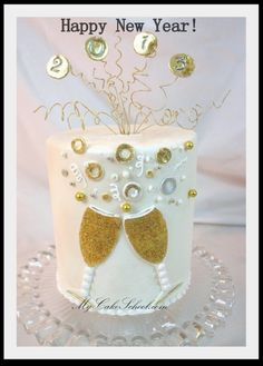 This Happy New Year Cake Tutorial features lovely clinking champagne glasses and a topper of gold coils and decor. New Year Celebration, Celebration Cakes, New Years Eve Dessert, New Years Cookies, New Year's Desserts, New Year's Cake, New Year's Food, Cake Decorating Supplies, Holiday Cakes