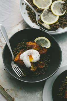 Lentils + Roasted Acorn Squash + Poached Egg || A Thought for Food