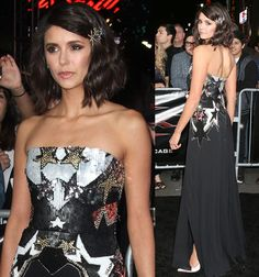 Nina Dobrev donned a strapless black silk gown from Elie Saab's spring 2017 collection