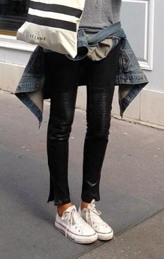 converse sneakers + leather pants