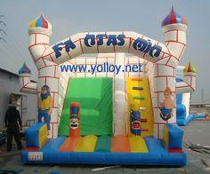Fantastic white and blue #castle inflatable #slide