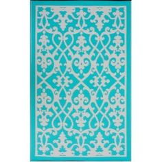 Fab Habitat Venice Indoor/Outdoor Recycled Plastic Rug, Cream & Turquoise, x Outdoor Dining Set, Outdoor Rugs, Indoor Outdoor, Outdoor Doormats, Carpet Flooring, Rugs On Carpet, Turquoise Rug, Rugs And Mats, My Favorite Color