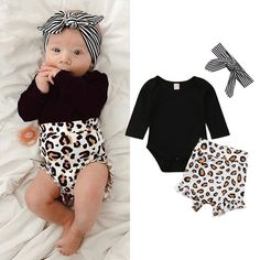 Details about US Toddler Kids Baby Girl Infant Clothes Romper Tops Leopard  Print Pants Outfits 23b13306d