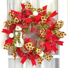 Deco Mesh Wreath CHRISTMAS Slim Red Lime Green Snowman Decor $49.97 by www.southerncharmwreaths.com