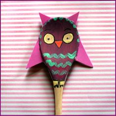 cute owl puppet out of paint and a wooden spoon