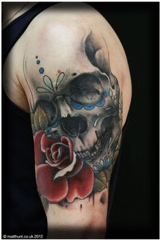 Sugar Skull tattoo by Matt Hunt
