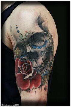 Sugar Skull tattoo by Matt Hunt