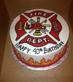 Fireman's Cake Photo: Uploaded from the Photobucket iPhone App. This Photo was uploaded by skozie Firefighter Birthday Cakes, Fireman Birthday, 40th Birthday Cakes, Fireman Party, Wedding Cakes With Cupcakes, Party Cakes, Cupcake Cakes, Cupcake Ideas, Budweiser Cake