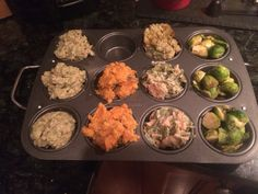 Thanksgiving Leftovers!! Use a muffin tin to portion out leftovers needing reheated without reheating them all!