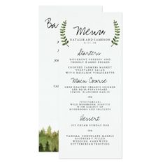 #monogrammed - #Rustic Ombre Watercolor Forest Wedding Dinner Menu Card