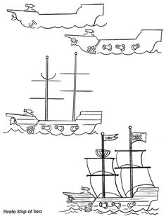 how to draw a pirate ship inkspired musings: Getting ready for Talk Like A Pirate Day! Drawing For Kids, Art For Kids, Boat Drawing, Drawing Ideas, Pirate Ship Drawing, Preschool Pirate Theme, 30 Day Art Challenge, Pirate Art, Pirate Crafts