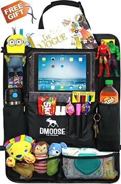 """Car Backseat Organizer with Tablet Holder for Kids and Toddlers by DMoose (24""""X19"""") - Insulated Neoprene Thermal Pockets, Strong Buckles, Plastic Support for Added Stability - Bonus Seat Catcher - https://all4babies.co.business/car-backseat-organizer-with-tablet-holder-for-kids-and-toddlers-by-dmoose-24x19-insulated-neoprene-thermal-pockets-strong-buckles-plastic-support-for-added-stability-bonus-seat-catcher/  #24X19, #Added, #Backseat, #BONUS, #Buckles, #Catcher, #DMoose,"""
