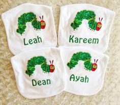 Very Hungry Caterpillar Party Favors  Bib Set of 4 by honeydewmoon, $36.00