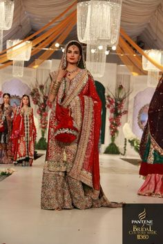 Kosain Bridal Dresses Designs At Pantene Bridal Couture Week . Pakistani Bridal Couture, Indian Bridal Fashion, Pakistani Bridal Dresses, Pakistani Outfits, Indian Dresses, Bridal Gowns, Asian Wedding Dress, Asian Bridal, Wedding Dresses