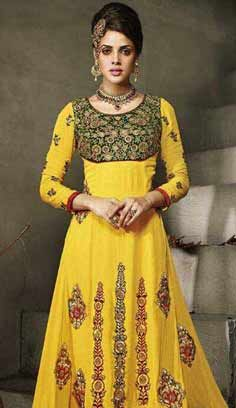 Traditional Latest Yellow Georgette Party Wear Dresses, Dress
