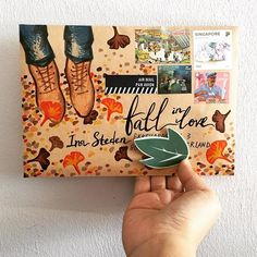 Fall in love with fall. Mail Art Envelopes, Addressing Envelopes, Envelope Art, Envelope Design, Letter Writing, Letter Art, Snail Mail Pen Pals, Pen Pal Letters, Fun Mail