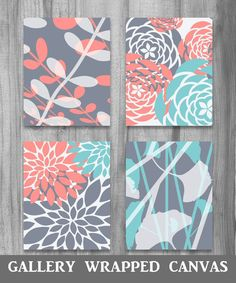 CANVAS Coral Turquoise Gray Gallery canvas art Set Modern Vintage Floral Nature Prints Set of 4 Grey Bedroom Home Decor Art Turquoise, Turquoise Bathroom, Bathroom Grey, Vintage Turquoise, Bathroom Wall, Bathroom Colors, Light Turquoise, Turquesa Coral, Nature Prints