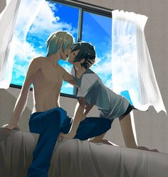 Daaamn it! TwT So many things I wanna pin from one of my favorite Yaoi sites, but I can't, because there are too much smexxy time going on! >w> Ah, oh well... I guess this yummy picture of Izaya and Shizuo will do! XD