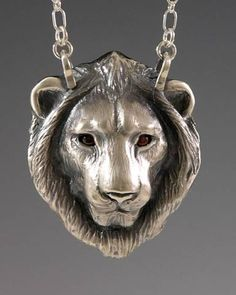 handcrafted silver lion jewelry, silver lion totem jewelry