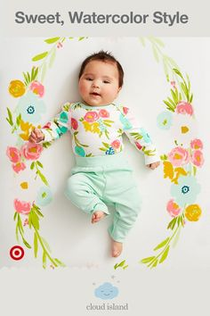 """Only at Target, the Cloud Island Floral Fields collection features beautiful watercolor florals that are infused with delicate, handmade-quality detailing. You'll find sweet little clothes at even sweeter prices—perfect for your baby girl and your Target Baby Registry. Beyond the pretty mix-and-match clothing, you'll find adorable nursery bedding and décor infused with the same splashes of gold and fun details. Say """"hello"""" to an amazing new beginning."""