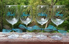 8 Personalized Bridesmaids Wine Glasses by expressandcreate, $80.00