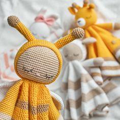 Set of 4 patterns, amigurumi pattern, newborn lovey pattern, security blanket, blanket toy, crochet toy