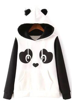 Jubileens Women's Cute Panda Print White and Black Fleece Hoodie Sweatshirts Tops Pullover White Hooded Sweatshirt, Fleece Hoodie, White Hoodie, Bear Hoodie, Hooded Sweater, Hooded Coats, Hooded Jacket, Long Hoodie, Unicorn Hoodie