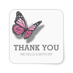 Pink Grey Butterfly Wedding Favour Stickers