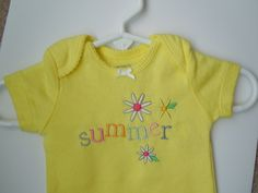 Baby Girl Summer Bodysuit, Girl's Summer Onesie, Newborn Embroidered Bodysuit, Infant Girl Summer Outfit, Baby Girl's Yellow Bodysuit by SewFlurry on Etsy