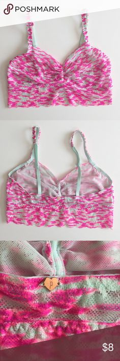 PINK bralette PINK bralette. Baby blue and fuchsia pink print. Removed tags but never worn. PINK Victoria's Secret Intimates & Sleepwear Bras