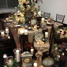 Steampunk wedding table design. Mahogany chiavari chairs  and decorative chargers by chairaffairrentals.com, photo shoot designed & coordinated by Uniquely Yours, Invitations by Joie de Vie Weddings, Linens by Over the Top Inc, Floral by Lee Forrest Designs - photo by Tabitha Mccausland, Orlando, Florida    I like this for Alice in Wonderland
