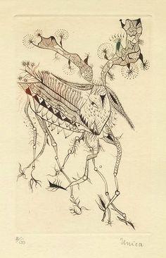 Unica Zürn - Paris, Le Point Cardinal, 1962 - gravure à la plume sur cuivre gravée par Hans Bellmer.